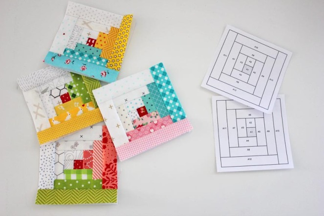 Log Cabin Blocks paper piecing Tutorial